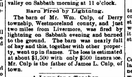 From the Indiana Progress (Indiana, Pennsylvania) 15 APR 1903 - and fell forearm tbe sold to valley on Sabbath...