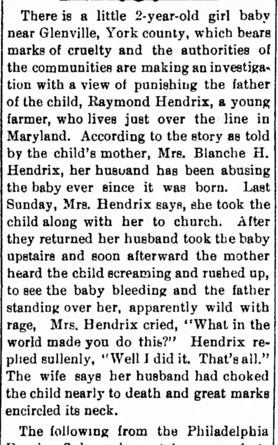 blurb --- Hendrix Raymond Andrew child abuse   1918 -