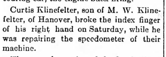 Curtis Klinefelter broken index finger-Aug 1918 -