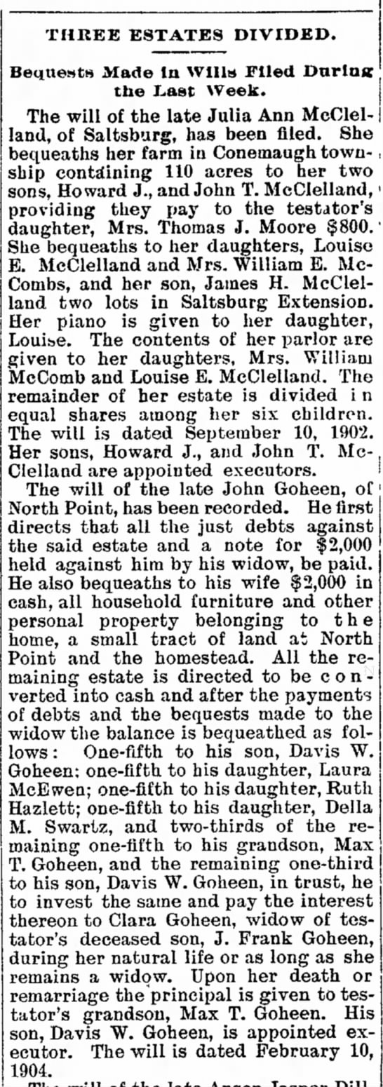will of John Goheen article dated 22 May 1907 -