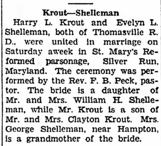 Harry L Krout and Evelyn L Shelleman marriage-Jul 1933 -