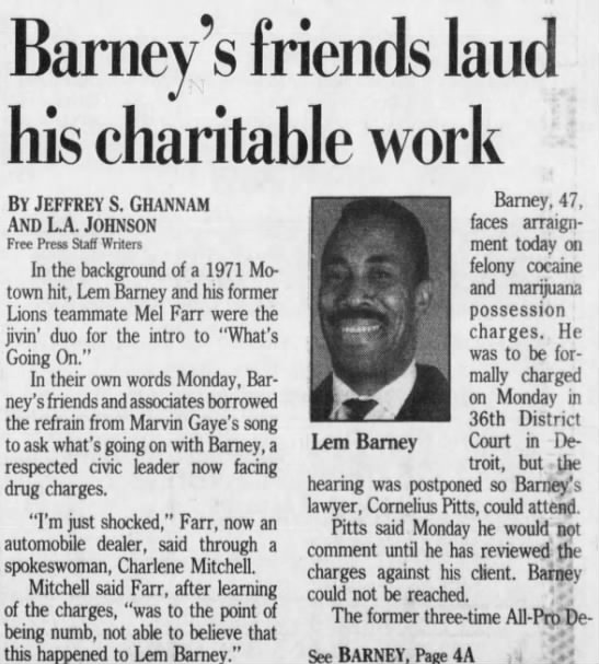 Barney's friends laud his charitable work -