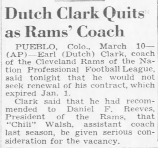 Dutch Clark Quits as Rams' Coach -