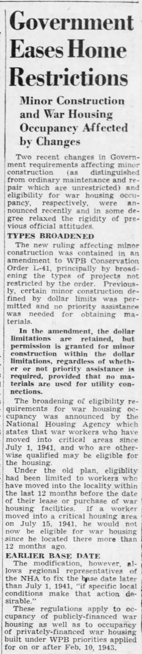 Government eases home restrictions, DFP 5-23-1943 p14 -