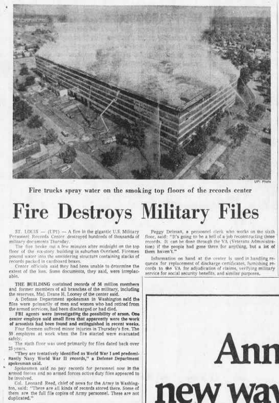 "Fire Destroys Military Records - IkfL''V"" t; "" ' ' ;' i "" r -Xti c . -1- v t 5..."