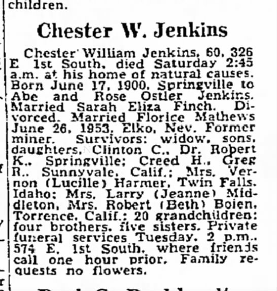 Chet Jenkins Obit