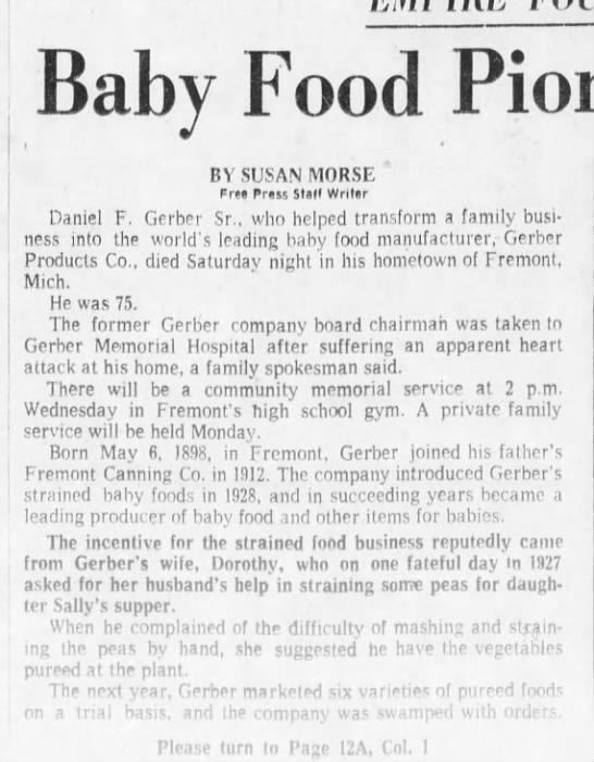 Baby Food Pioneer Dan Gerber Dies -