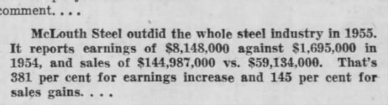 McLouth 1955 sales and earnings -