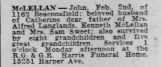 Obit John McLellan Detroit Frre Press 4 Feb 1956 -