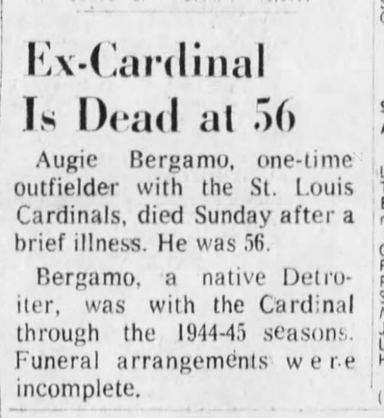 Ex-Cardinal Is Dead at 56 [Augie Bergamo] -