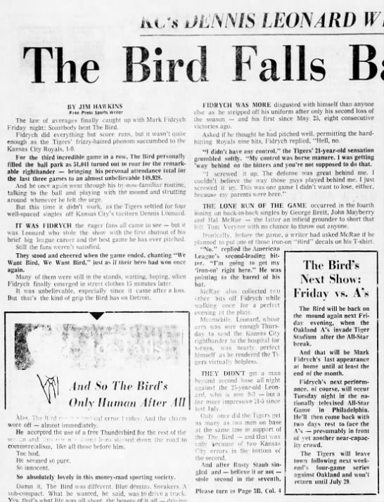 The Bird Falls Back to Earth, 1-0 -