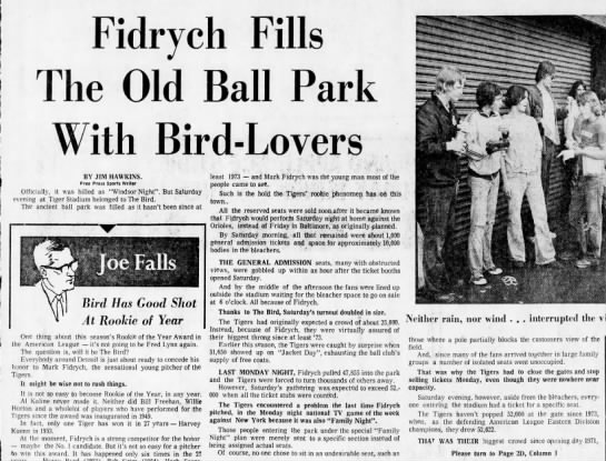Fidrych Fills the Old Ball Park With Bird-Lovers -