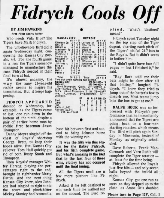 Fidrych Cools Off Royals, 4–3 -