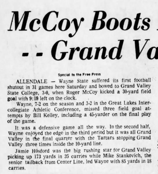 McCoy Boots FG with 9:19 Remaining -- Grand Valley Stops Wayne St., 3-0 -