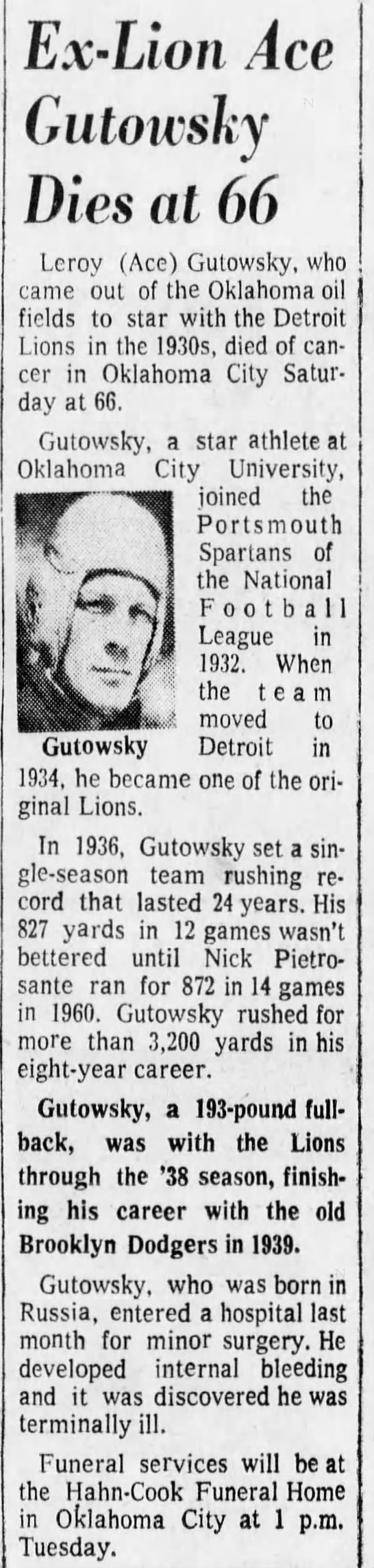 Ex Lion Ace Gutowsky Dies at 66 -