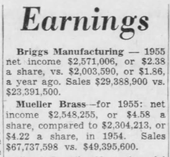 Earnings - Mueller Brass -