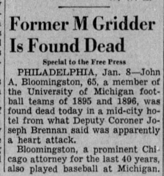 Former M Gridder Is Found Dead [John Bloomingston] -