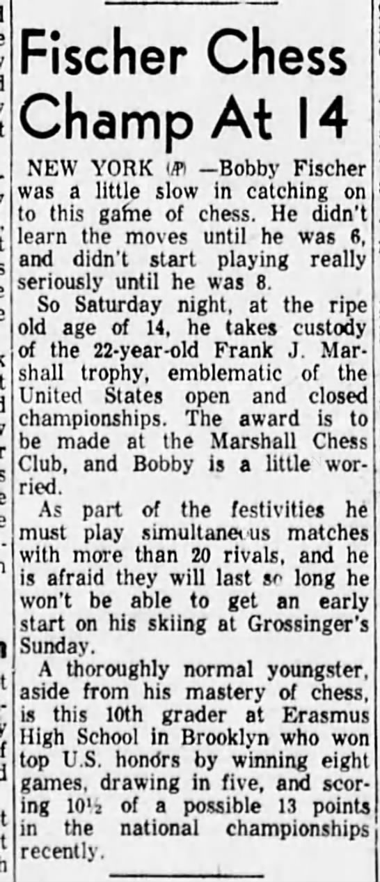 Fischer Chess Champ At 14 -