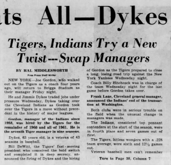 This Beats All – Dykes for Gordon! Tigers, Indians Try a New Twist – Swap Managers -