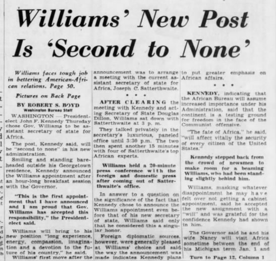 Williams' New Post Is 'Second to None' -