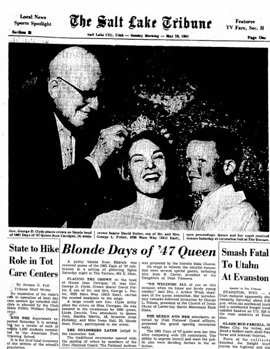 1961 Joan being crowned Days of 47 Queen by Gov. Clyde -