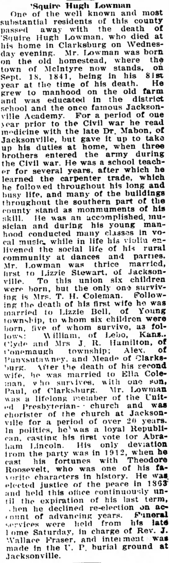 Hugh Lowman obituary- Indiana Progress-10May1922 -