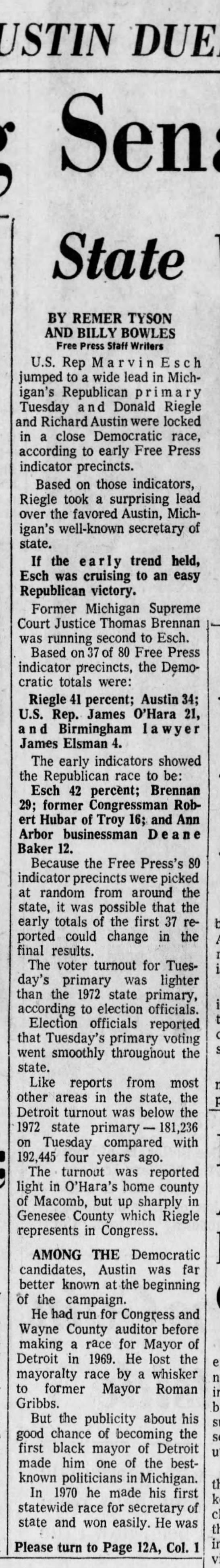 Reigle, Austin Duel: Esch Has Big Senate Lead -