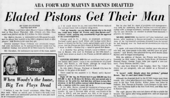 Elated Pistons Get Their Man: ABA Forward Marvin Barnes Drafted -