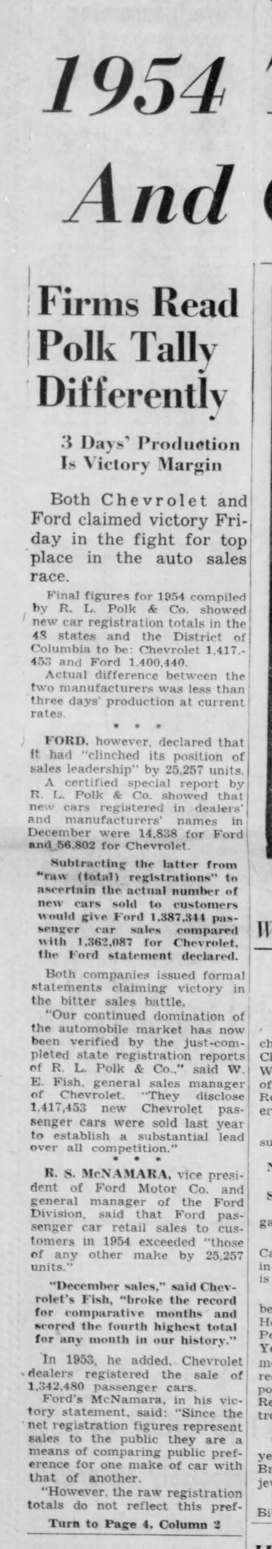 1954 Totals Official; Ford And Chevrolet Claim Lead -