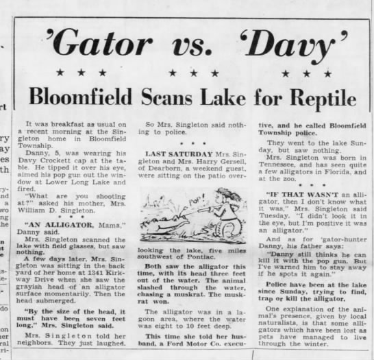 'Gator vs. 'Davy': Bloomfield Scans Lake for Reptile -
