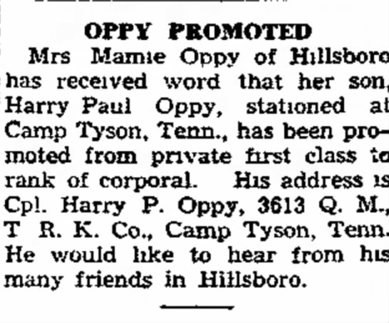 Harry Paul - the gunner has PROMOTED j Mrs Mamie Oppy of...