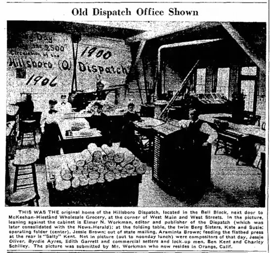 Old Dispatch (Newspaper) Office Shown, Byrdie Ayres, July 12, 1957, Press Gazette, Hillsboro, OH -