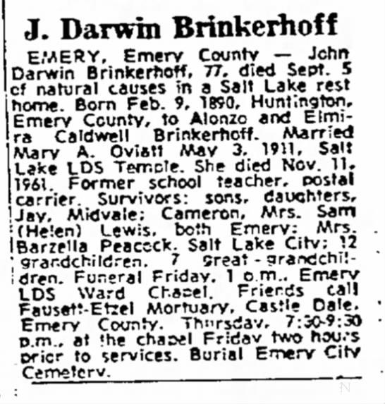 John Darwin Brinkerhoff Obituary -