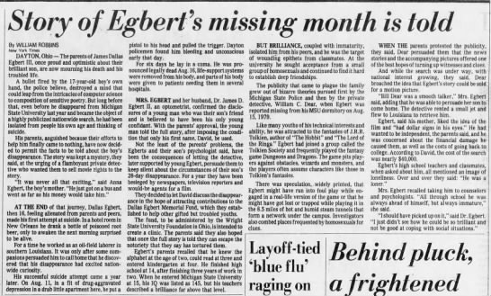 Story of Egbert's missing month is told -