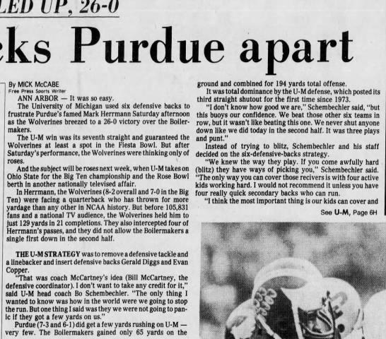 Hermann Bottled Up, 26-0: U-M picks Purdue apart -