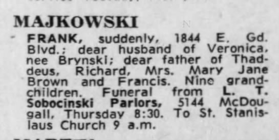 Obit on April 25, 1961 -
