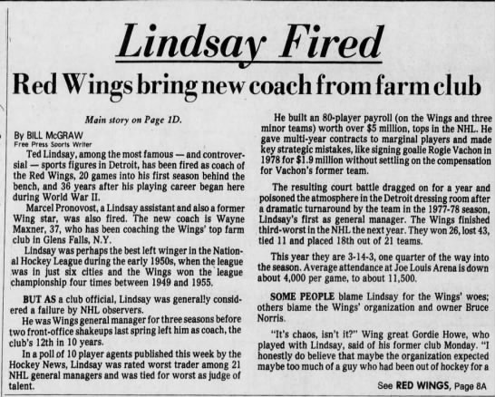 Lindsay fired: Red Wings bring new coach from farm club -