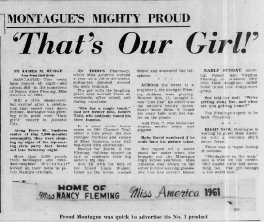 Montague's Mighty Proud: 'That's Our Girl!' -