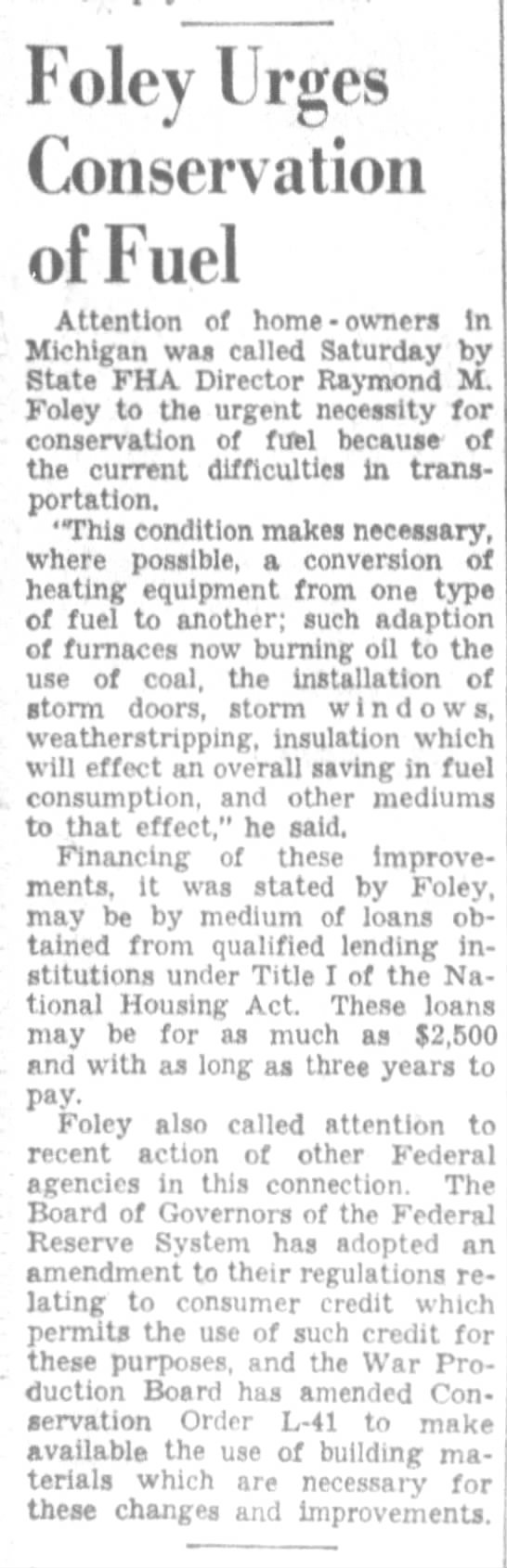 Foley urges conservation of fuel, DFP 10-25-1942 p12 -