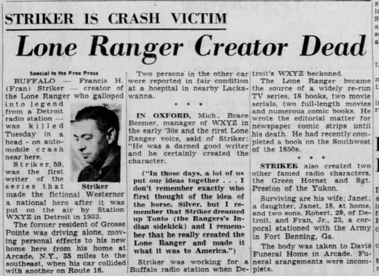 Striker Is Crash Victim: Lone Ranger Creator Dead -