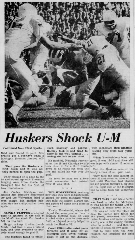 1962 nebraska-michigan football, Freep 2 -