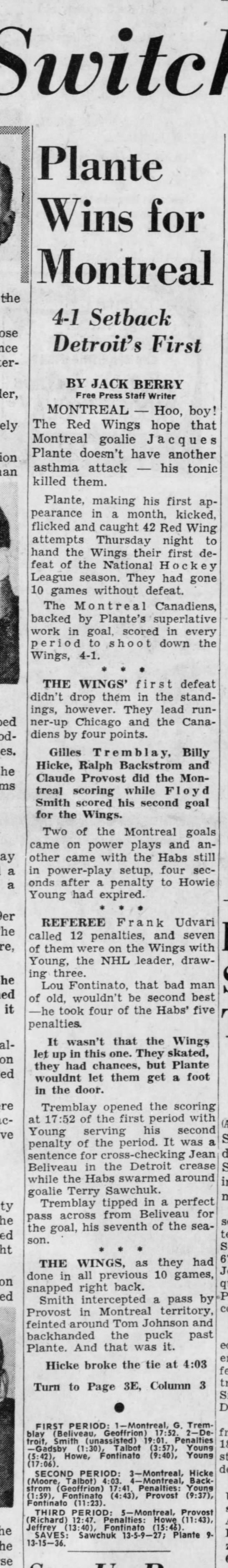 What a Switch! Wings Beaten . . . Plante Wins for Montreal -
