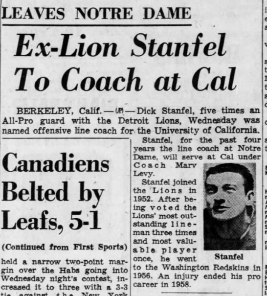 Ex Lion Stanfel To Coach at Cal -