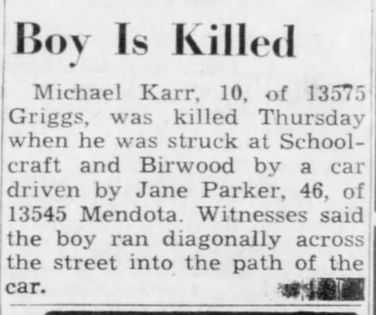 Michael Karr accident -