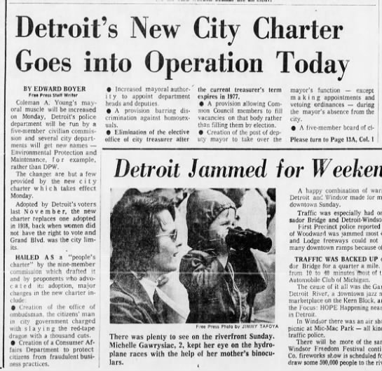 Detroit's New City Charter Goes into Operation Today -