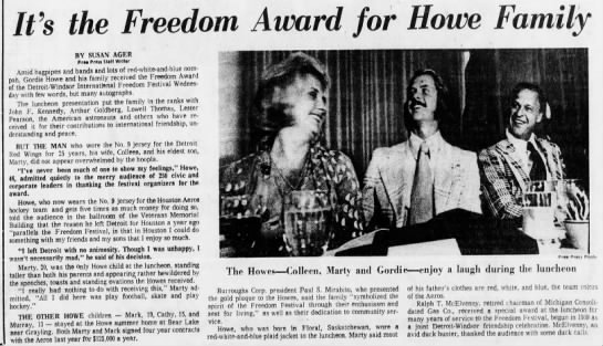 It's the Freedom Award for Howe Family -