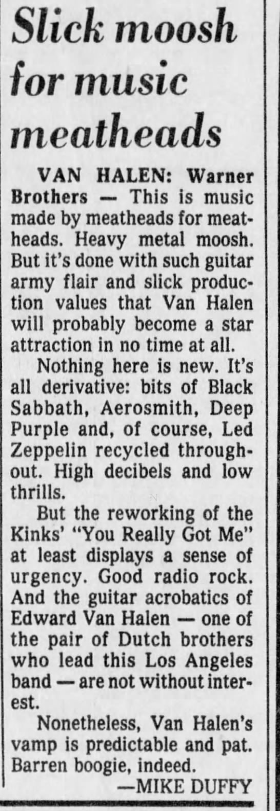 Sun 6/18/78: VH debut review - Freep -