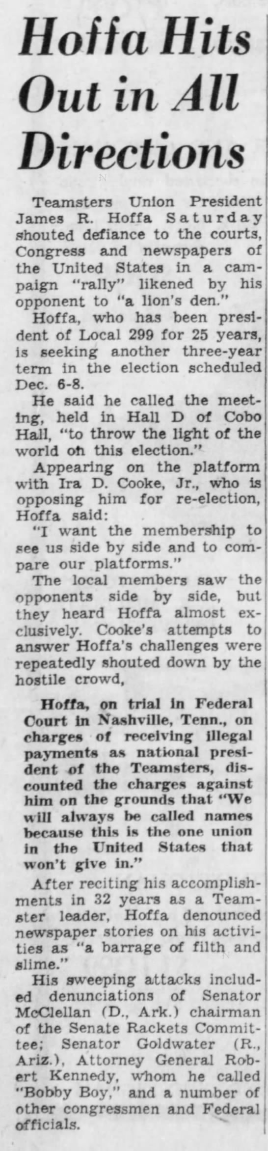 Hoffa Hits Out in All Directions -
