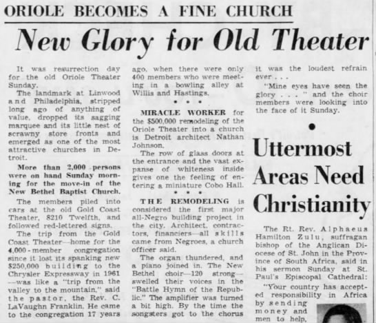 Oriole Becomes a Fine Church: New Glory for Old Theater -