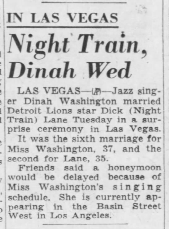 Night Train, Dinah Wed -
